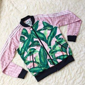 Adidas FARM tropical leaf satin track jacket M NWT